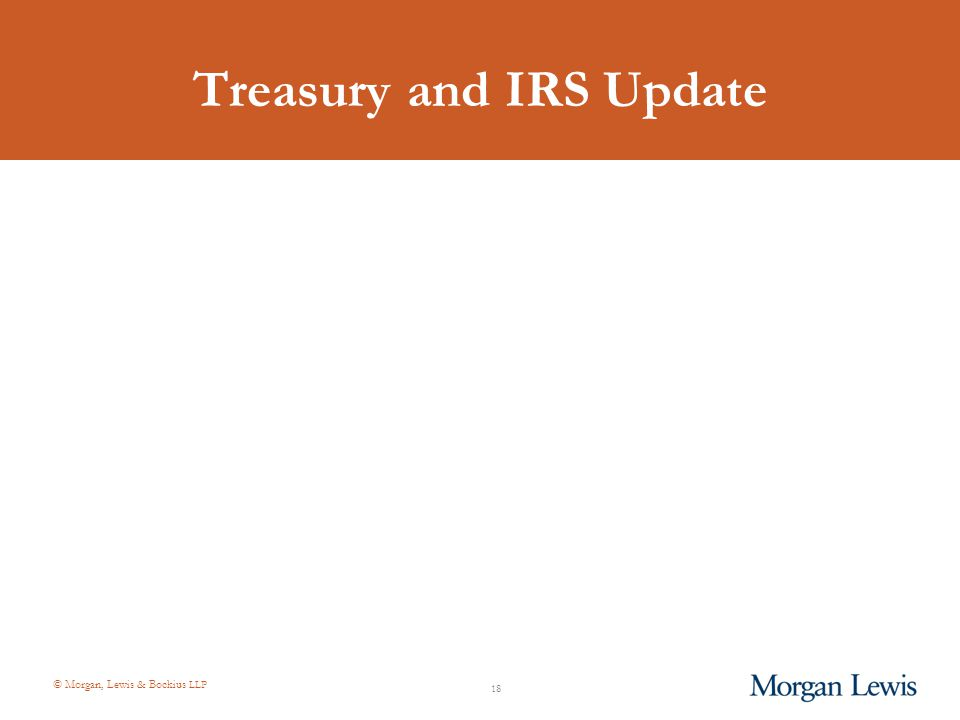 © Morgan, Lewis & Bockius LLP Treasury and IRS Update 18