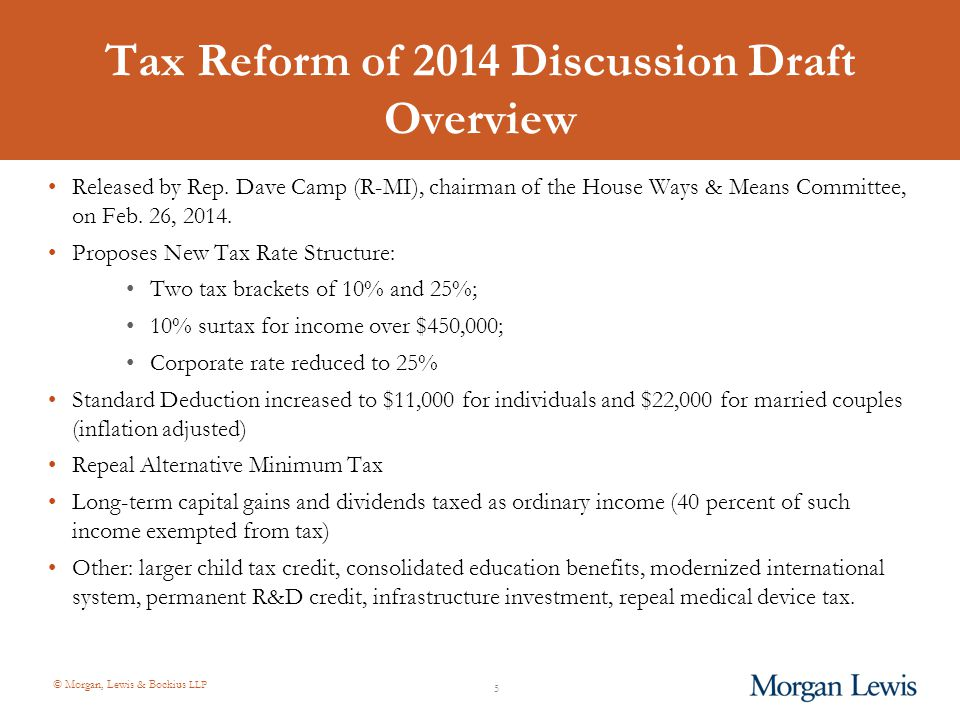 © Morgan, Lewis & Bockius LLP Tax Reform of 2014 Discussion Draft Overview Released by Rep.
