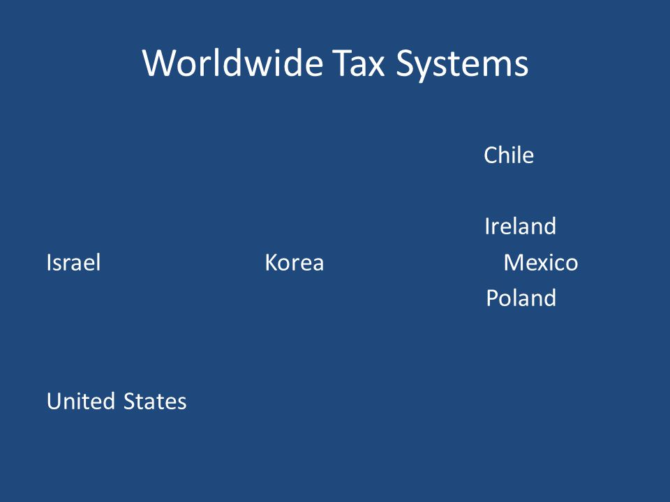 Worldwide Tax Systems Australia, Austria, Belgium, Canada, Chile, Czech Republic, Denmark, Estonia, Finland, France, Germany, Greece, Hungary, Iceland, Ireland, Israel, Italy, Japan, Korea, Luxembourg, Mexico, Netherlands, New Zealand, Norway, Poland, Portugal, Slovenia, Slovak Republic, Spain, Sweden, Switzerland, Turkey, United Kingdom, United States