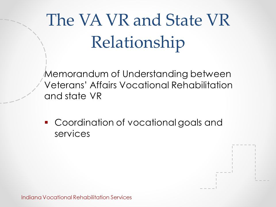 The VA VR and State VR Relationship Memorandum of Understanding between Veterans' Affairs Vocational Rehabilitation and state VR  Coordination of vocational goals and services Indiana Vocational Rehabilitation Services