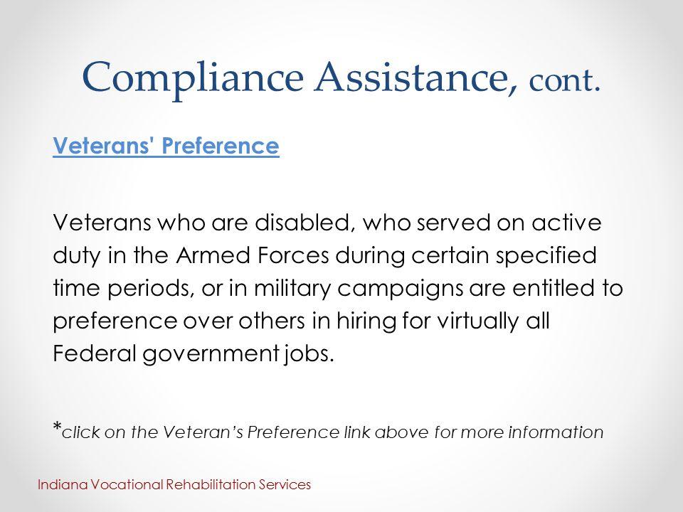Compliance Assistance, cont.