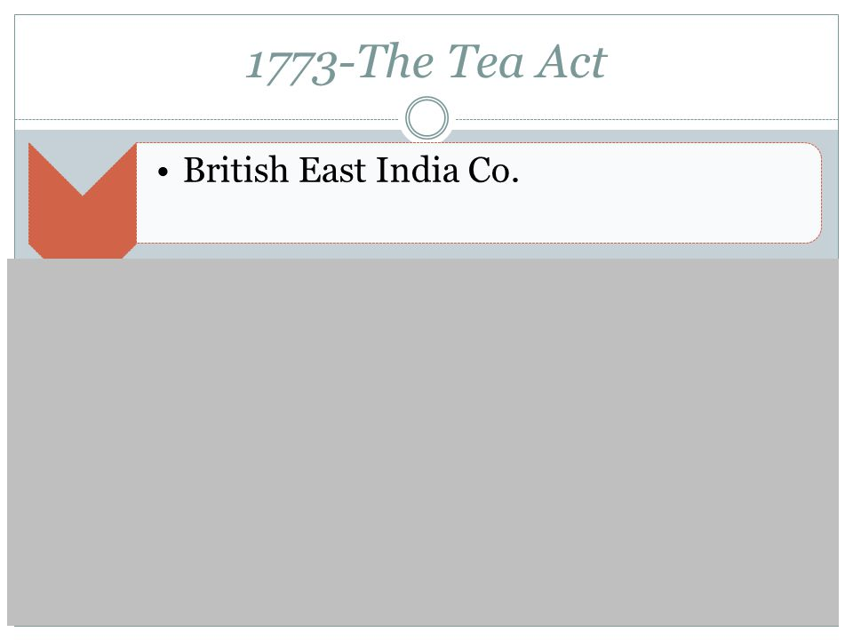 1773-The Tea Act British East India Co.Boston Tea PartyKing George III and the Intolerable Acts