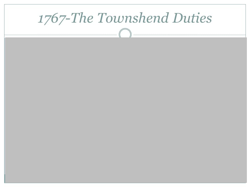 1767-The Townshend Duties Non ImportationSeizures Riots 4,000 troops tension
