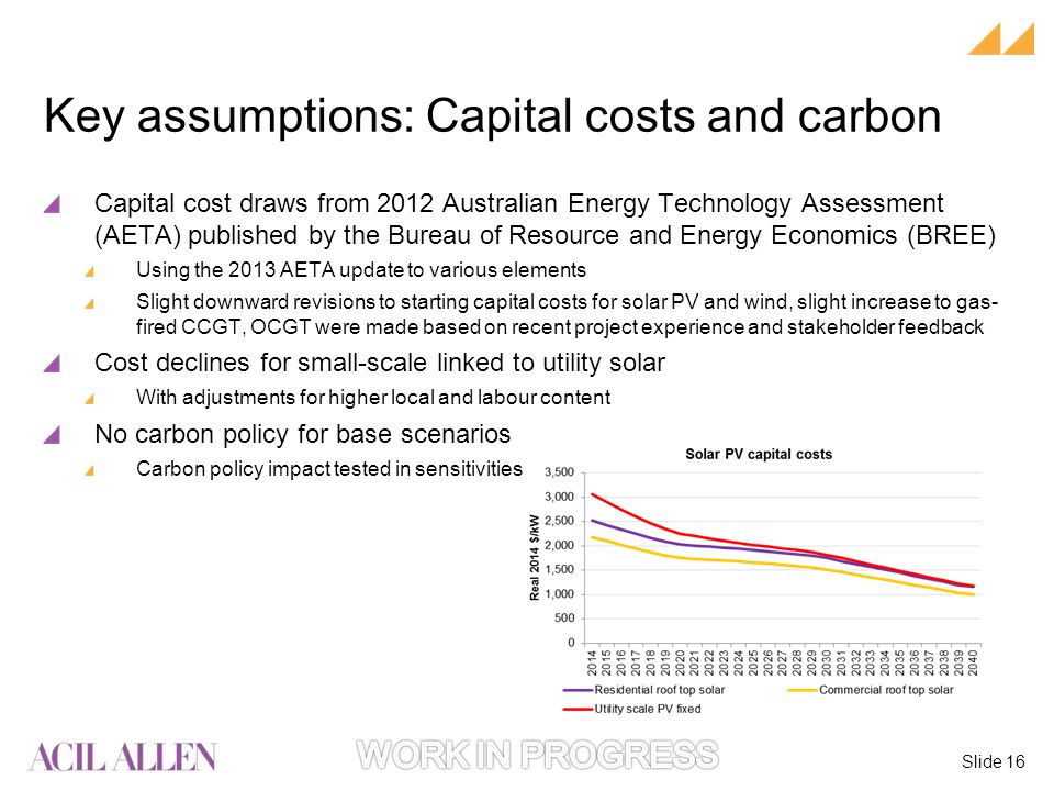 Slide 16 Capital cost draws from 2012 Australian Energy Technology Assessment (AETA) published by the Bureau of Resource and Energy Economics (BREE) Using the 2013 AETA update to various elements Slight downward revisions to starting capital costs for solar PV and wind, slight increase to gas- fired CCGT, OCGT were made based on recent project experience and stakeholder feedback Cost declines for small-scale linked to utility solar With adjustments for higher local and labour content No carbon policy for base scenarios Carbon policy impact tested in sensitivities Key assumptions: Capital costs and carbon