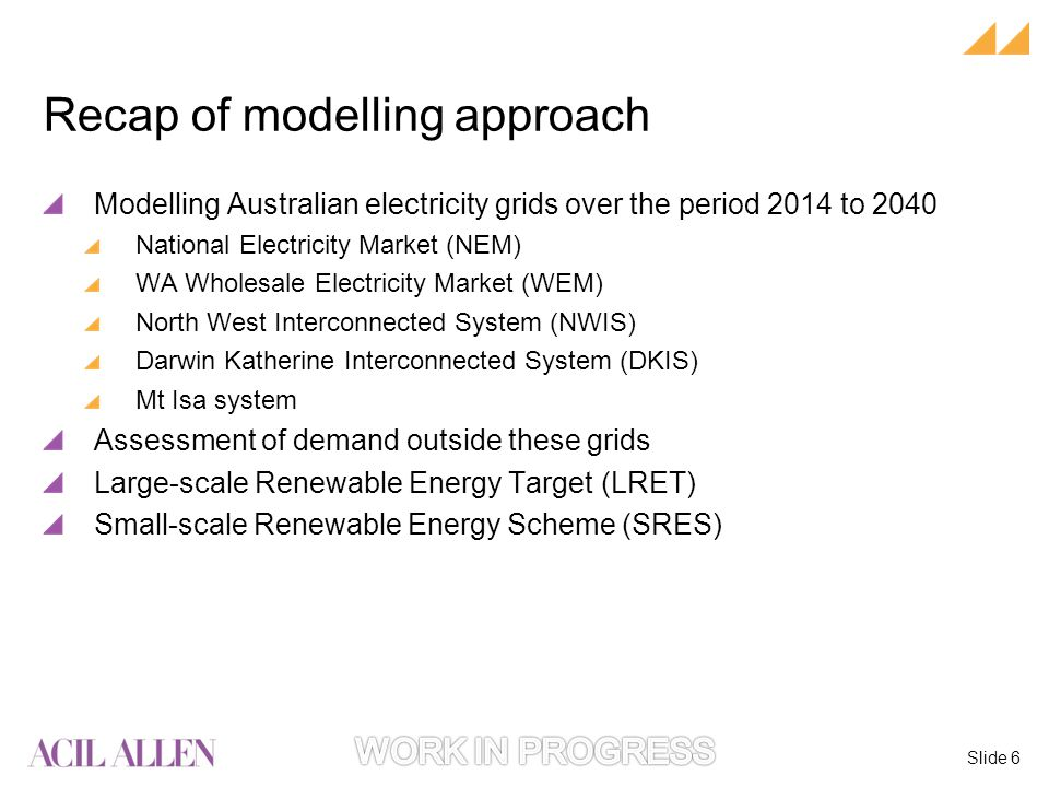Slide 6 Modelling Australian electricity grids over the period 2014 to 2040 National Electricity Market (NEM) WA Wholesale Electricity Market (WEM) North West Interconnected System (NWIS) Darwin Katherine Interconnected System (DKIS) Mt Isa system Assessment of demand outside these grids Large-scale Renewable Energy Target (LRET) Small-scale Renewable Energy Scheme (SRES) Recap of modelling approach