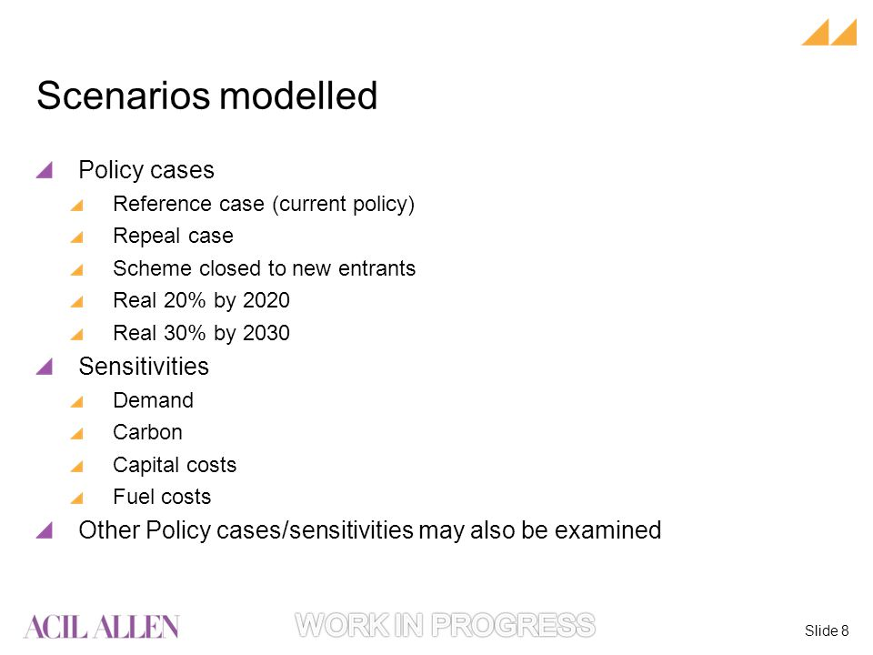 Slide 8 Policy cases Reference case (current policy) Repeal case Scheme closed to new entrants Real 20% by 2020 Real 30% by 2030 Sensitivities Demand Carbon Capital costs Fuel costs Other Policy cases/sensitivities may also be examined Scenarios modelled