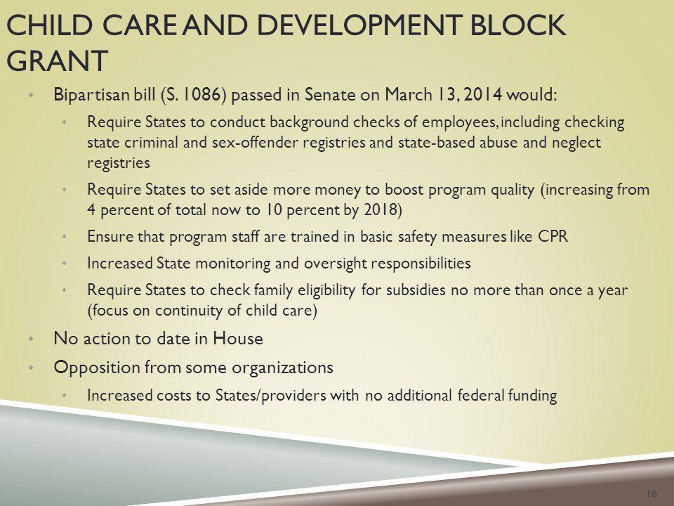 CHILD CARE AND DEVELOPMENT BLOCK GRANT Bipartisan bill (S.