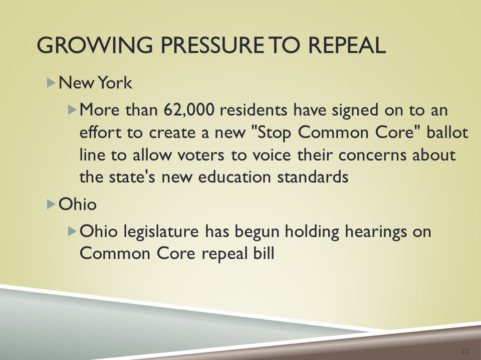 GROWING PRESSURE TO REPEAL  New York  More than 62,000 residents have signed on to an effort to create a new Stop Common Core ballot line to allow voters to voice their concerns about the state s new education standards  Ohio  Ohio legislature has begun holding hearings on Common Core repeal bill 32