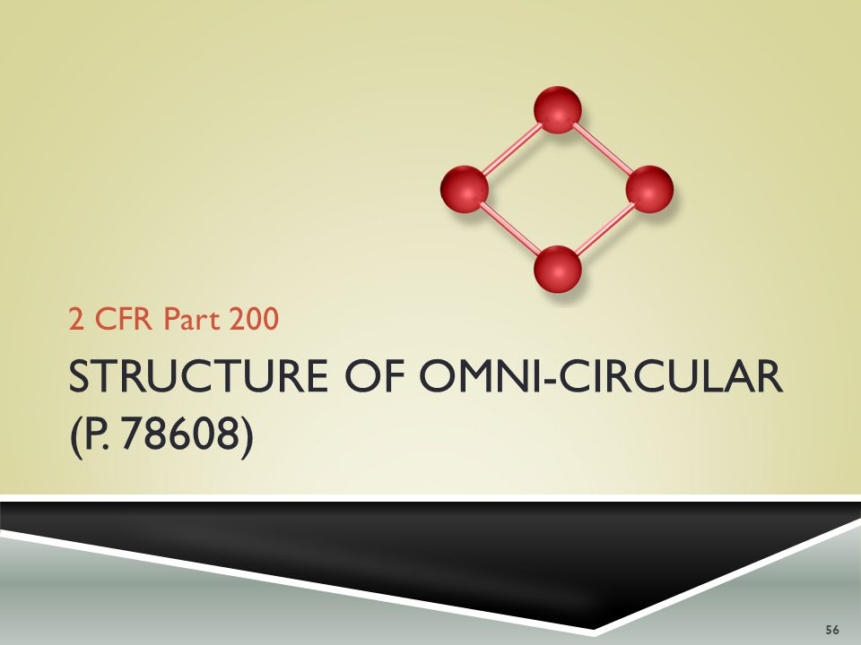 2 CFR Part 200 56 STRUCTURE OF OMNI-CIRCULAR (P. 78608)
