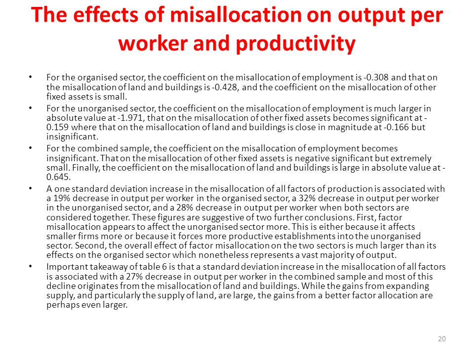 The effects of misallocation on output per worker and productivity For the organised sector, the coefficient on the misallocation of employment is -0.