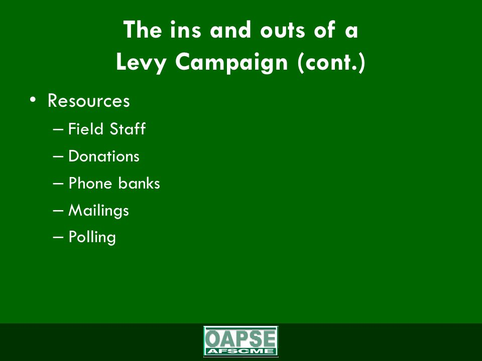The ins and outs of a Levy Campaign (cont.) Resources – Field Staff – Donations – Phone banks – Mailings – Polling