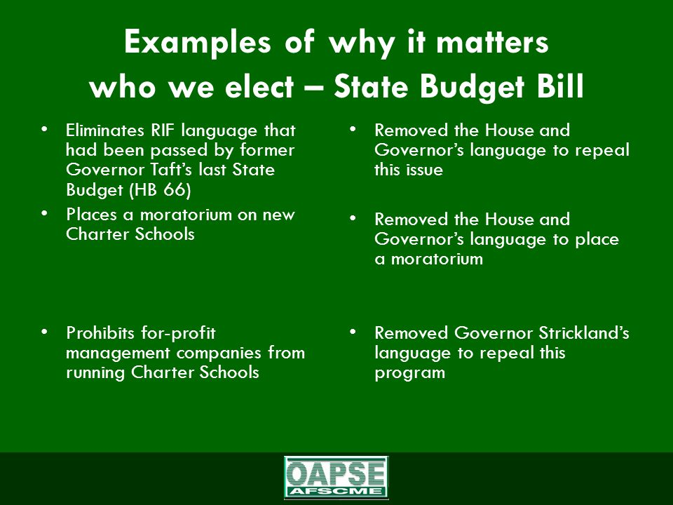 Examples of why it matters who we elect – State Budget Bill Eliminates RIF language that had been passed by former Governor Taft's last State Budget (HB 66) Places a moratorium on new Charter Schools Prohibits for-profit management companies from running Charter Schools Removed the House and Governor's language to repeal this issue Removed the House and Governor's language to place a moratorium Removed Governor Strickland's language to repeal this program