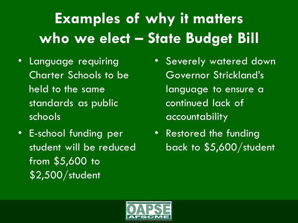 Examples of why it matters who we elect – State Budget Bill Language requiring Charter Schools to be held to the same standards as public schools E-school funding per student will be reduced from $5,600 to $2,500/student Severely watered down Governor Strickland's language to ensure a continued lack of accountability Restored the funding back to $5,600/student