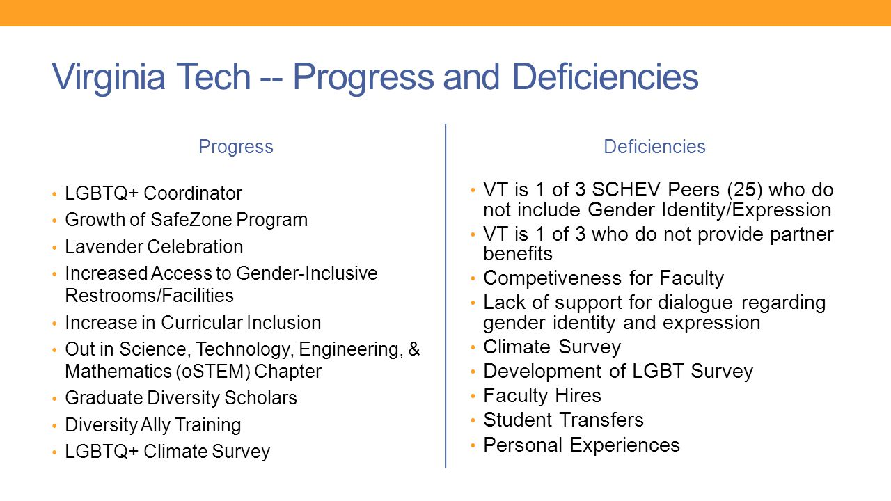 Virginia Tech -- Progress and Deficiencies Progress LGBTQ+ Coordinator Growth of SafeZone Program Lavender Celebration Increased Access to Gender-Inclusive Restrooms/Facilities Increase in Curricular Inclusion Out in Science, Technology, Engineering, & Mathematics (oSTEM) Chapter Graduate Diversity Scholars Diversity Ally Training LGBTQ+ Climate Survey Deficiencies VT is 1 of 3 SCHEV Peers (25) who do not include Gender Identity/Expression VT is 1 of 3 who do not provide partner benefits Competiveness for Faculty Lack of support for dialogue regarding gender identity and expression Climate Survey Development of LGBT Survey Faculty Hires Student Transfers Personal Experiences