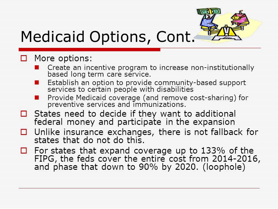 Medicaid Options, Cont.