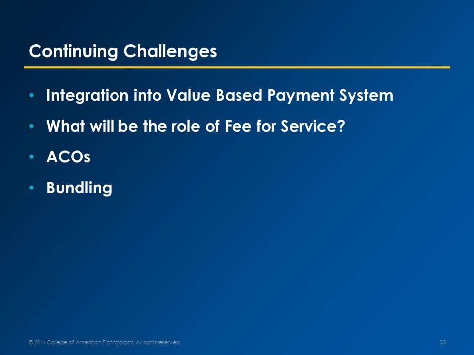 Continuing Challenges Integration into Value Based Payment System What will be the role of Fee for Service.