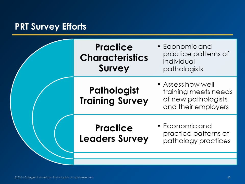 PRT Survey Efforts © 2014 College of American Pathologists.
