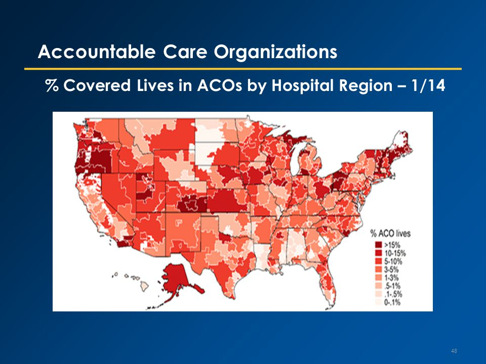 Accountable Care Organizations % Covered Lives in ACOs by Hospital Region – 1/14 48