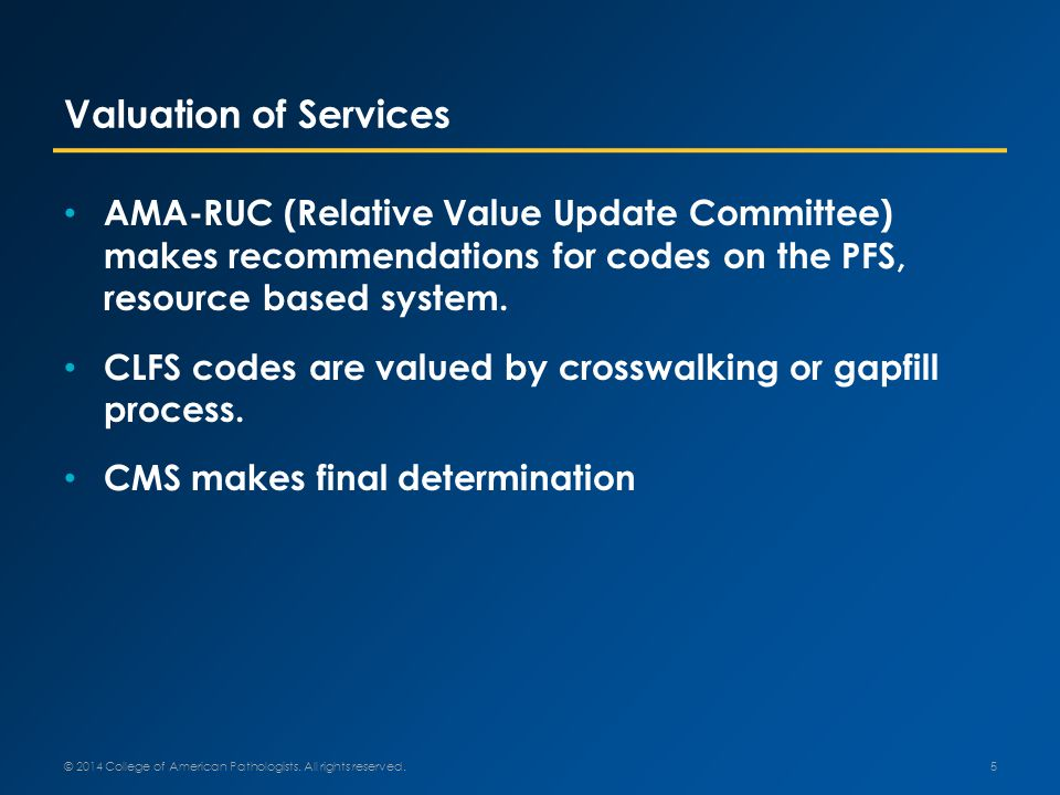 Valuation of Services AMA-RUC (Relative Value Update Committee) makes recommendations for codes on the PFS, resource based system.