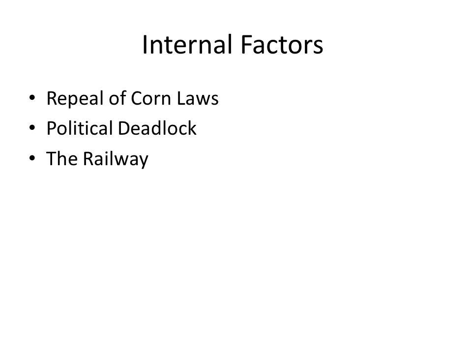 Internal Factors Repeal of Corn Laws Political Deadlock The Railway