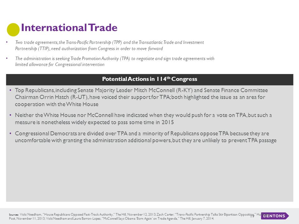"""Potential Actions in 114 th Congress International Trade 19 Sources: Vicki Needham, """"House Republicans Opposed Fast-Track Authority,"""" The Hill, Novemb"""