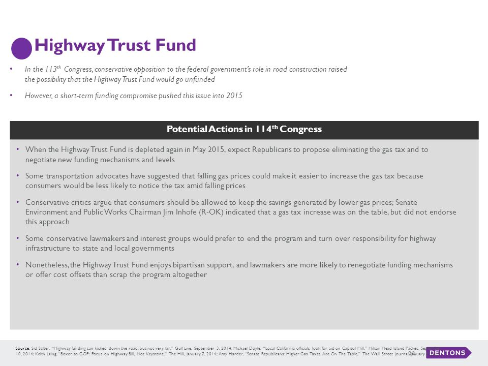 """Potential Actions in 114 th Congress Highway Trust Fund 22 Source: Sid Salter, """"Highway funding can kicked down the road, but not very far,"""" Gulf Live"""