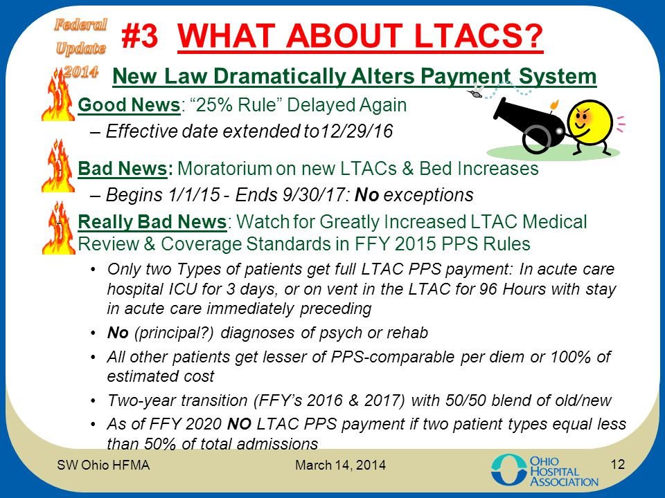 "#3 WHAT ABOUT LTACS? N New Law Dramatically Alters Payment System –Good News: ""25% Rule"" Delayed Again – Effective date extended to12/29/16 –Bad News:"