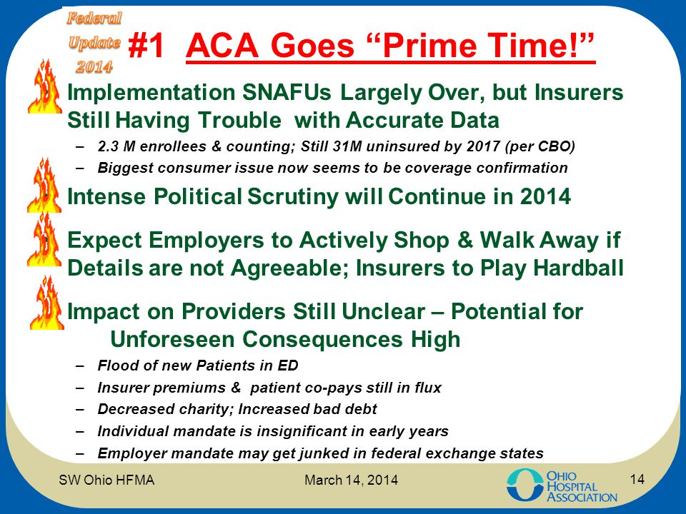 "#1 ACA Goes ""Prime Time!"" Implementation SNAFUs Largely Over, but Insurers Still Having Trouble with Accurate Data –2.3 M enrollees & counting; Still"