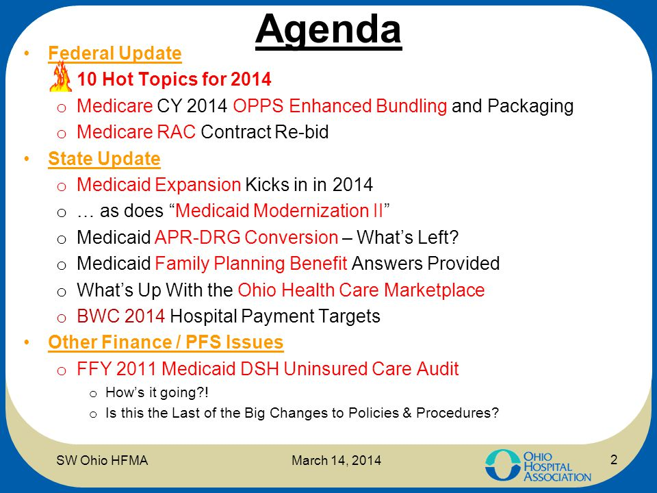 Agenda Federal Update o 10 Hot Topics for 2014 o Medicare CY 2014 OPPS Enhanced Bundling and Packaging o Medicare RAC Contract Re-bid State Update o M