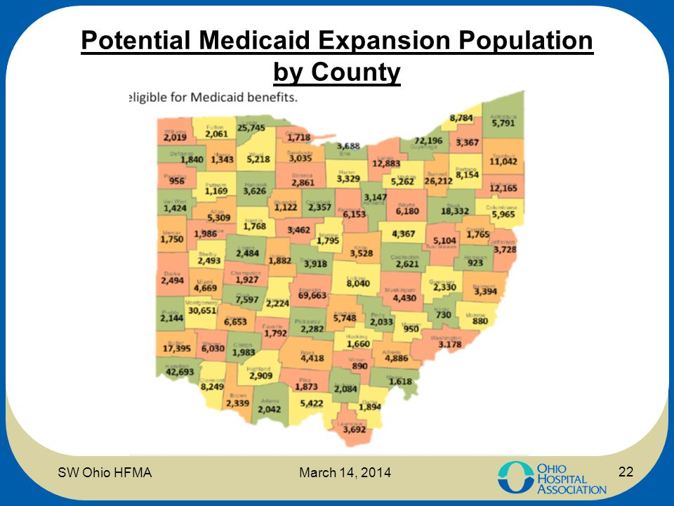 Potential Medicaid Expansion Population by County 22 SW Ohio HFMAMarch 14, 2014