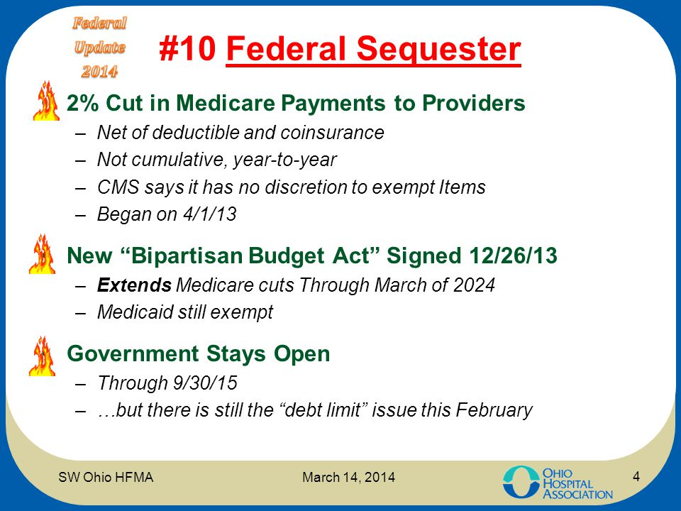 #10 Federal Sequester 2% Cut in Medicare Payments to Providers –Net of deductible and coinsurance –Not cumulative, year-to-year –CMS says it has no di