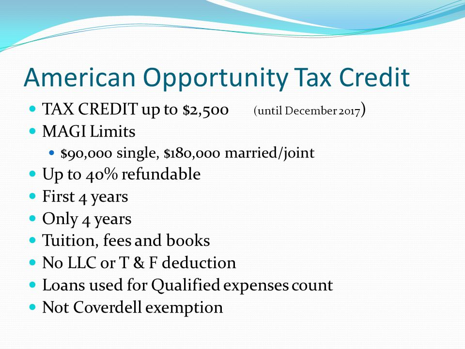 American Opportunity Tax Credit TAX CREDIT up to $2,500 (until December 2017 ) MAGI Limits $90,000 single, $180,000 married/joint Up to 40% refundable First 4 years Only 4 years Tuition, fees and books No LLC or T & F deduction Loans used for Qualified expenses count Not Coverdell exemption
