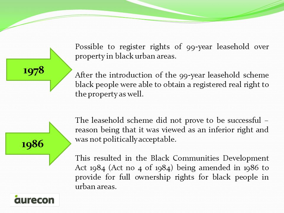 1978 Possible to register rights of 99-year leasehold over property in black urban areas.