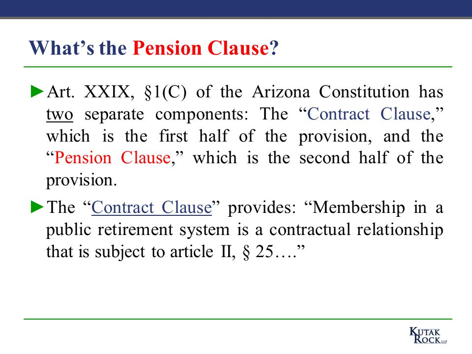 What's the Pension Clause. ►Art.