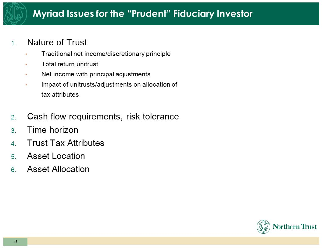 12 Diversified Trust Portfolio – Post-Prudent Investor Rule TIPS 2% Large Cap Stocks 19% Mid Cap Stocks 2% Small Cap Stocks 2% International Stocks 15