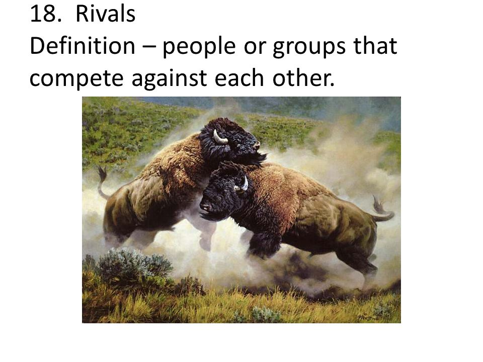 18. Rivals Definition – people or groups that compete against each other.