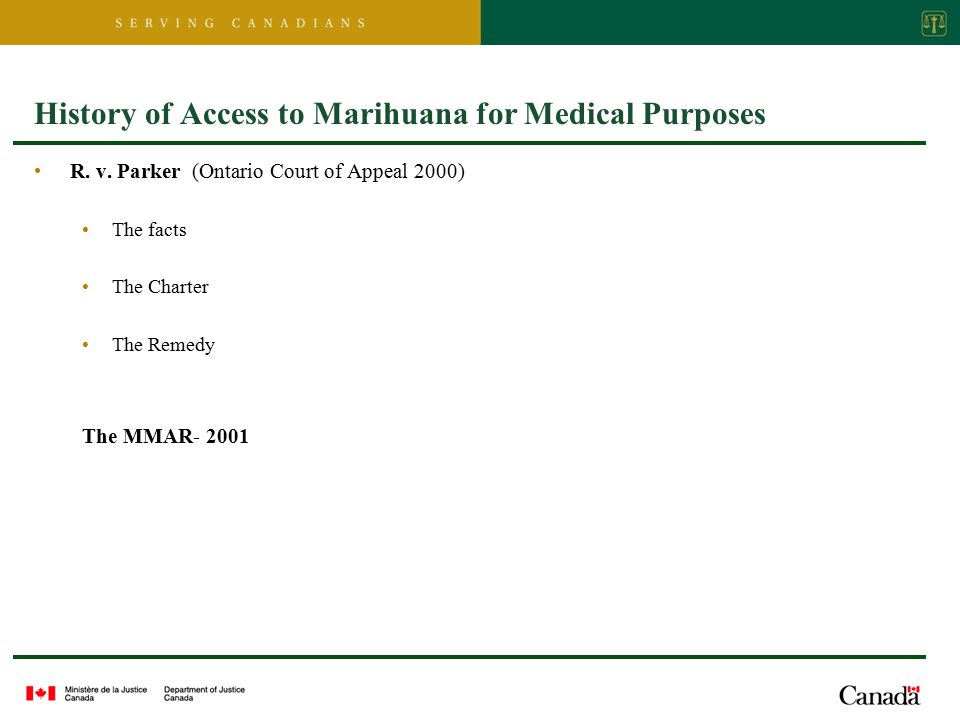 History of Access to Marihuana for Medical Purposes R.