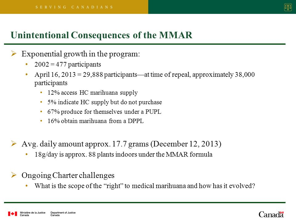 Unintentional Consequences of the MMAR  Exponential growth in the program: 2002 = 477 participants April 16, 2013 = 29,888 participants—at time of repeal, approximately 38,000 participants 12% access HC marihuana supply 5% indicate HC supply but do not purchase 67% produce for themselves under a PUPL 16% obtain marihuana from a DPPL  Avg.