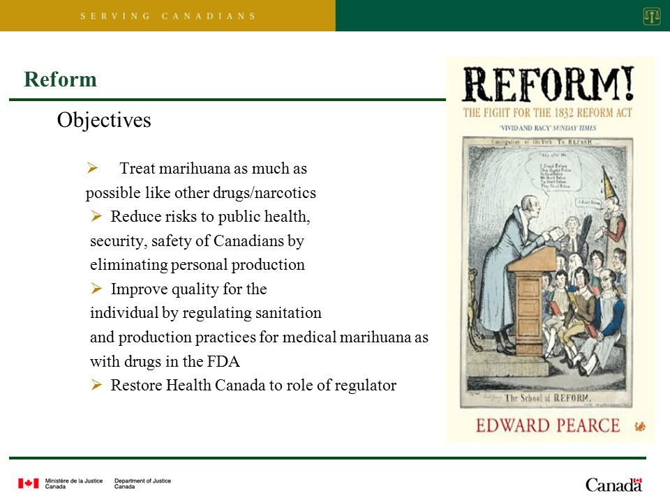 Reform Objectives  Treat marihuana as much as possible like other drugs/narcotics  Reduce risks to public health, security, safety of Canadians by eliminating personal production  Improve quality for the individual by regulating sanitation and production practices for medical marihuana as with drugs in the FDA  Restore Health Canada to role of regulator