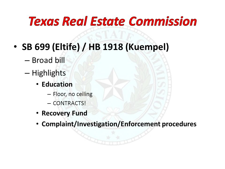 SB 699 (Eltife) / HB 1918 (Kuempel) – Broad bill – Highlights Education – Floor, no ceiling – CONTRACTS! Recovery Fund Complaint/Investigation/Enforce
