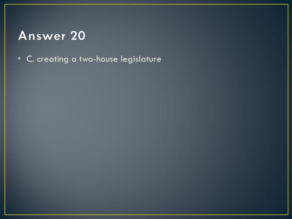 C. creating a two-house legislature