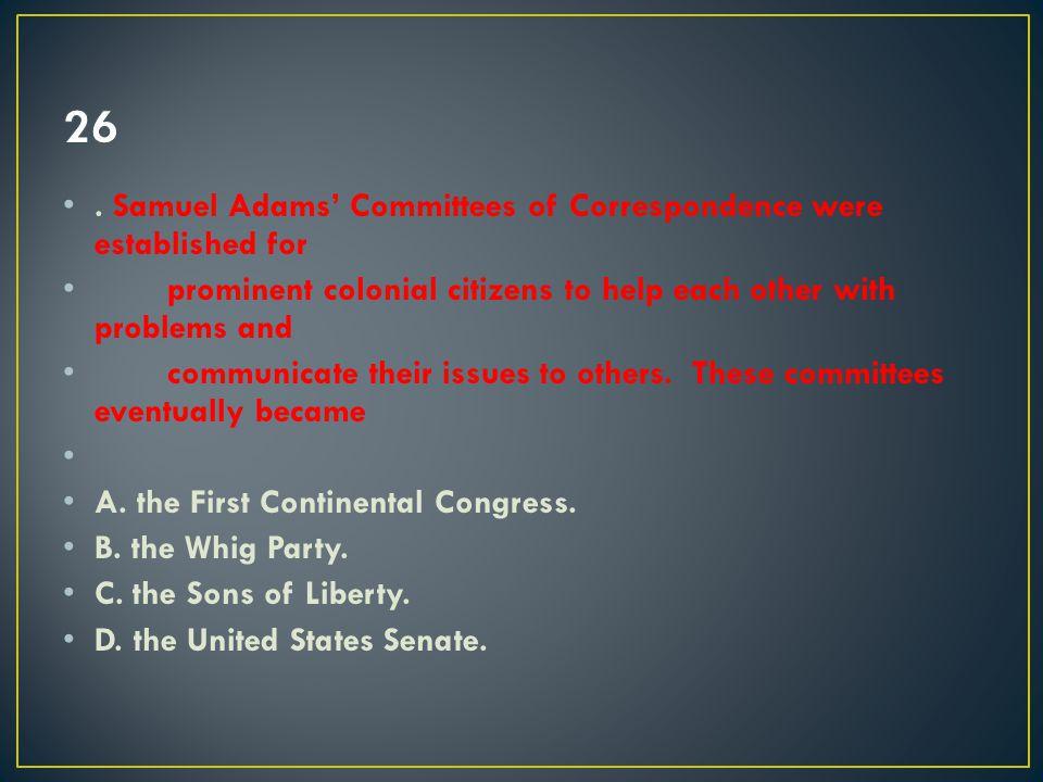 A. the First Continental Congress.