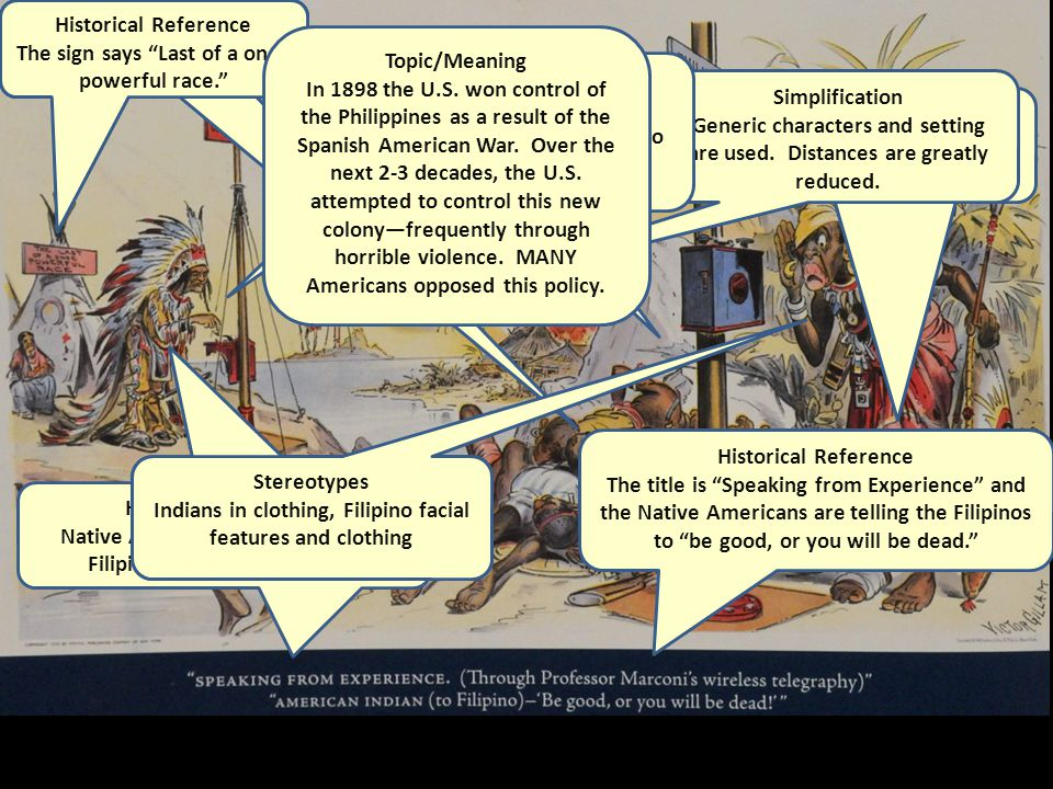 """Historical Reference Native Americans are talking with Filipinos over the telegraph. Historical Reference The title is """"Speaking from Experience"""" and"""