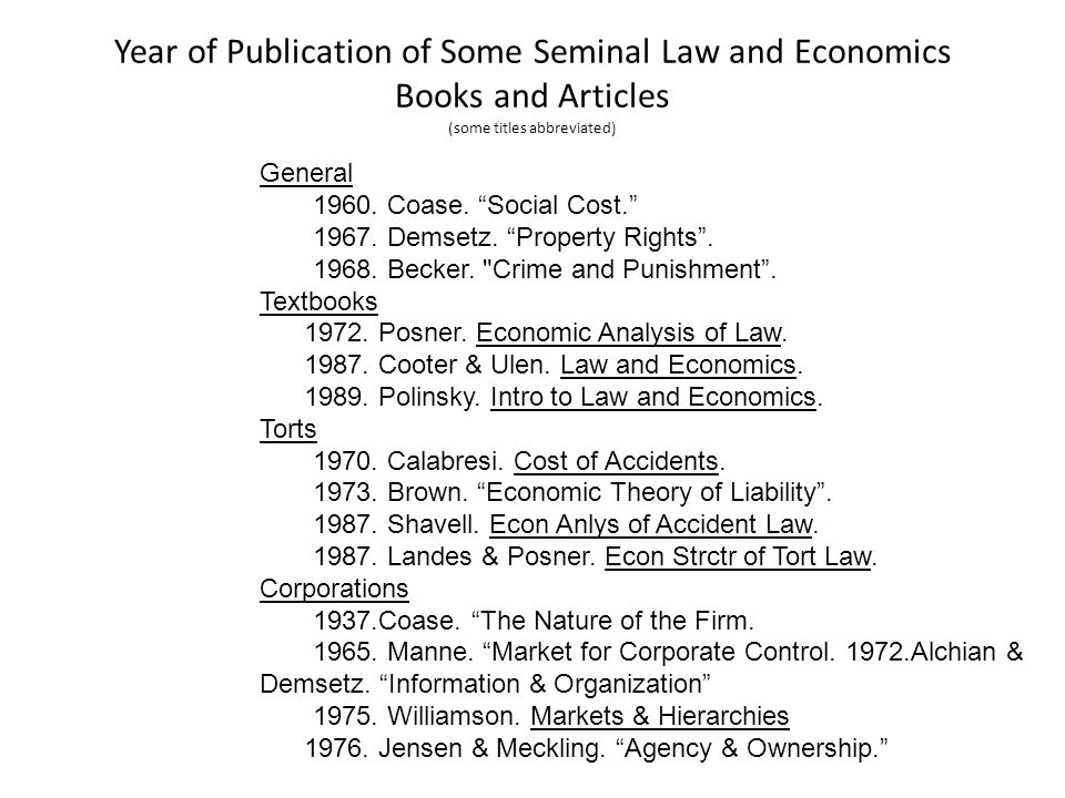Year of Publication of Some Seminal Law and Economics Books and Articles (some titles abbreviated) General 1960.