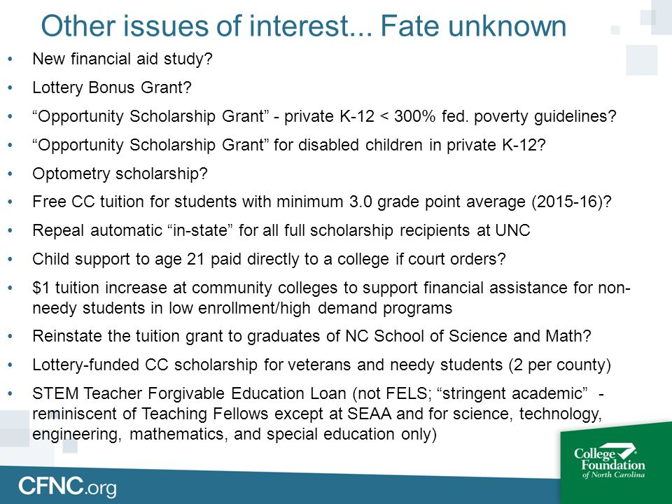 Other issues of interest... Fate unknown New financial aid study.
