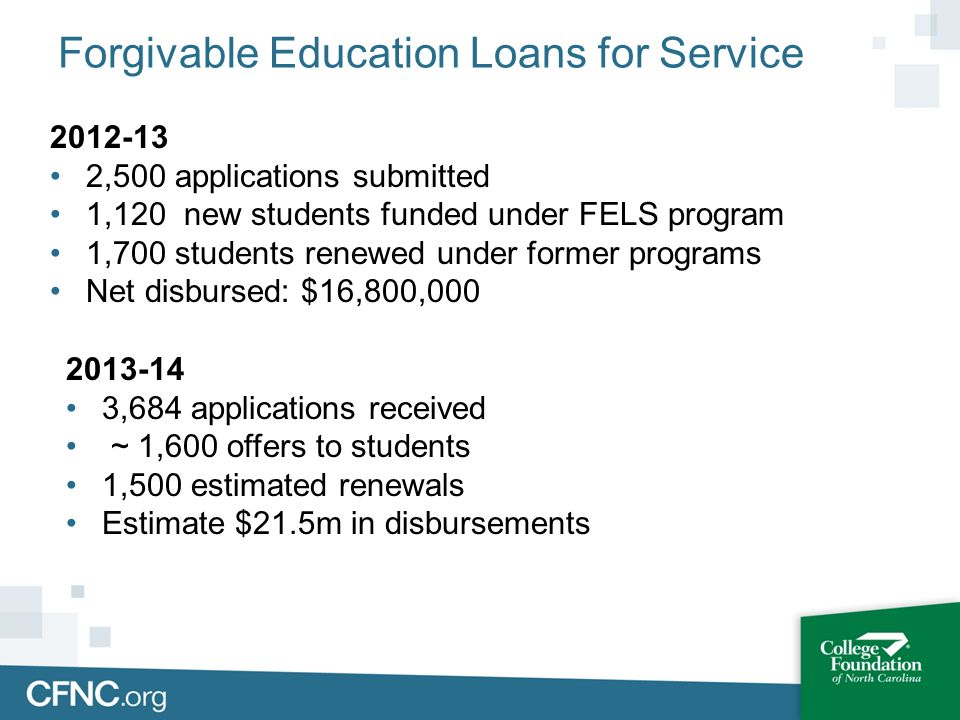 Forgivable Education Loans for Service 2012-13 2,500 applications submitted 1,120 new students funded under FELS program 1,700 students renewed under former programs Net disbursed: $16,800,000 2013-14 3,684 applications received ~ 1,600 offers to students 1,500 estimated renewals Estimate $21.5m in disbursements
