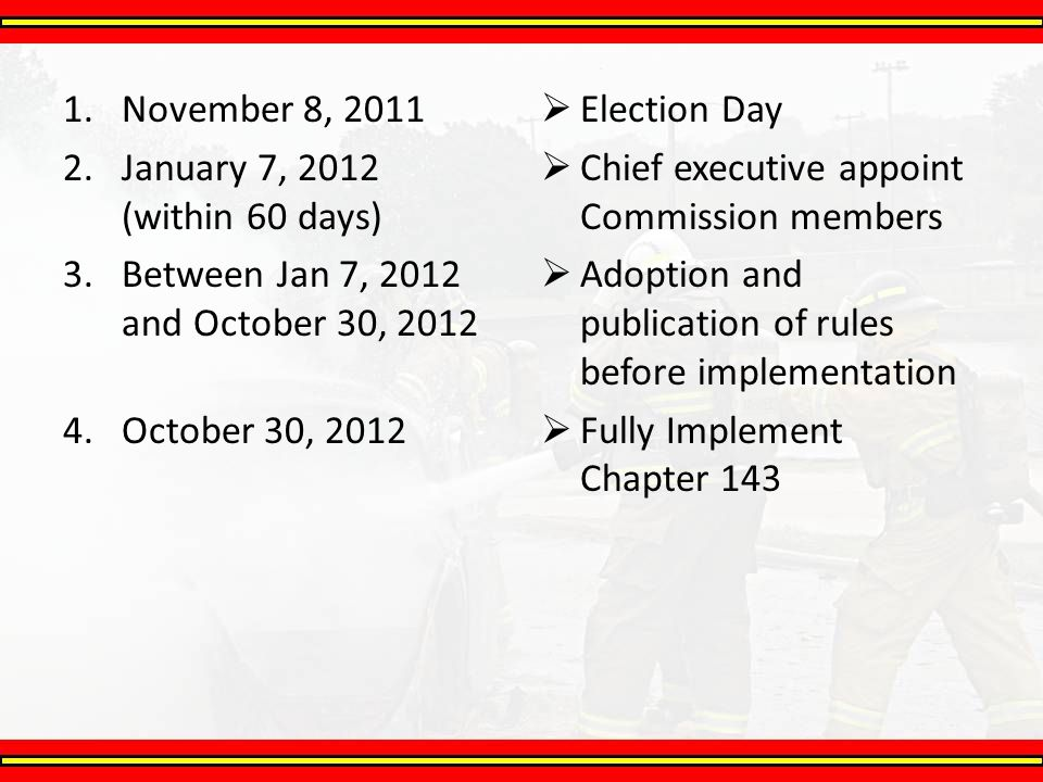 1.November 8, 2011 2.January 7, 2012 (within 60 days) 3.Between Jan 7, 2012 and October 30, 2012 4.October 30, 2012  Election Day  Chief executive a