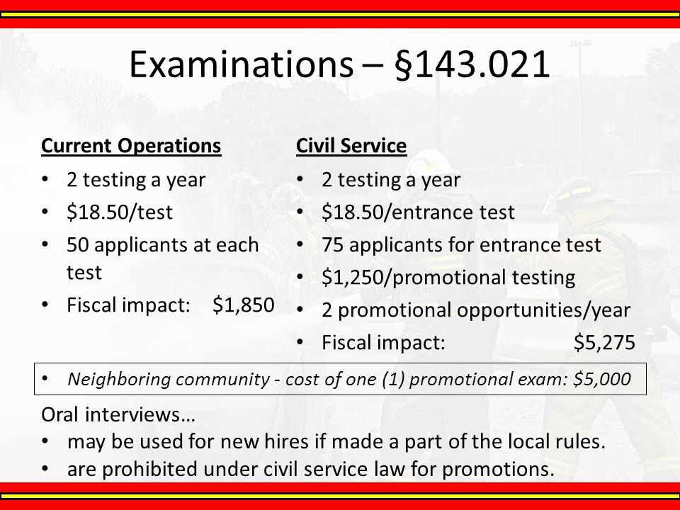 Examinations – §143.021 Current Operations 2 testing a year $18.50/test 50 applicants at each test Fiscal impact: $1,850 Civil Service 2 testing a yea