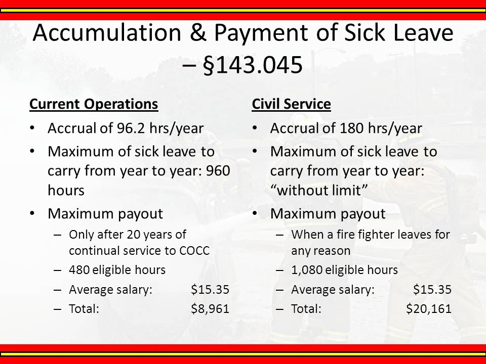Accumulation & Payment of Sick Leave – §143.045 Current Operations Accrual of 96.2 hrs/year Maximum of sick leave to carry from year to year: 960 hour