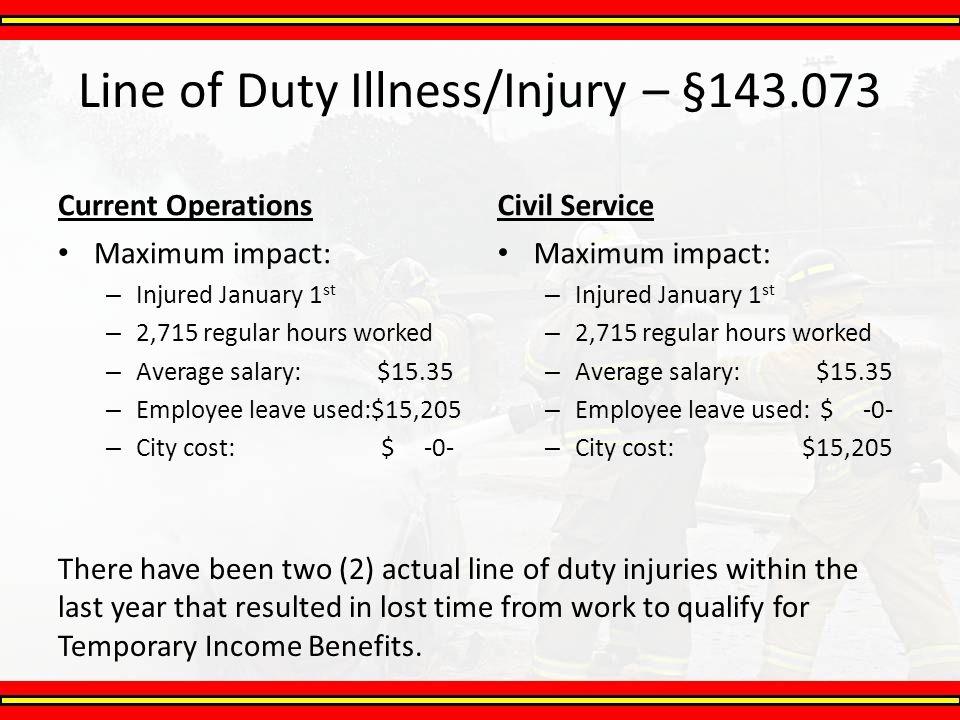 Line of Duty Illness/Injury – §143.073 Current Operations Maximum impact: – Injured January 1 st – 2,715 regular hours worked – Average salary: $15.35